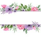 水彩手拉的植物布置背景框架 皇族释放例证