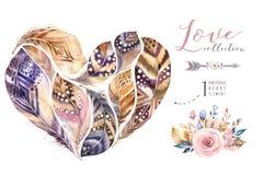 水彩手拉的绘画充满活力的羽毛集合 Boho样式用羽毛装饰心脏形状 被隔绝的爱例证  库存例证