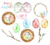 水彩手画复活节集合用色的鸡蛋,鸟巢,枝杈,树枝,装饰花圈隔绝了 免版税库存图片