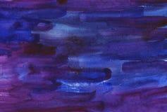 水彩抽象背景 蓝色和紫色油漆冲程 水彩波浪 库存照片