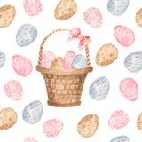 水彩无缝的样式用五颜六色的复活节彩蛋和篮子 皇族释放例证