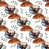 水彩无缝的样式-早晨咖啡和新月形面包 库存照片