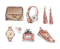水彩时尚套时髦辅助部件 袋子,耳环,手表,运动鞋,香水,圆环 库存例证