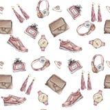 水彩时尚无缝的样式 套时髦辅助部件 袋子,耳环,手表,运动鞋,香水,圆环 向量例证