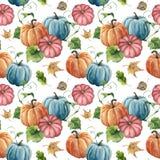 水彩明亮的南瓜和叶子无缝的样式 与被隔绝的分支的手画秋天南瓜装饰品  库存照片