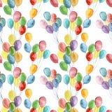 水彩明亮的空气轻快优雅无缝的样式 与在白色隔绝的五颜六色的气球的手画例证 免版税库存照片