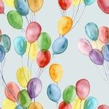 水彩明亮的空气轻快优雅样式 与在蓝色背景隔绝的五颜六色的气球的手画例证 库存图片