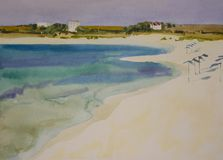 水彩晴朗的沙滩 免版税库存图片