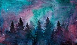 水彩有满天星斗的天空的夜森林 库存图片