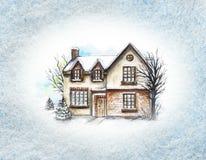水彩有雪的冬天房子在框架 皇族释放例证