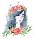 水彩有黑发和花卉花圈、红色和靛蓝牡丹的秀丽女孩开花 库存照片