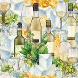 水彩杯白葡萄酒、瓶、白葡萄和乳酪 库存图片