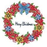 水彩树胶水彩画颜料红色莓果和绿色叶子圣诞节和Ri 库存例证