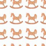 水彩样式圆点和摇马 无缝的颜色 库存例证