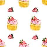 水彩样式用草莓和桃红色杯形蛋糕用草莓 免版税库存图片