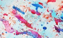 水彩桃红色五颜六色的闪耀的斑点、抽象背景和纹理 免版税库存图片