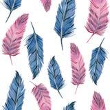 水彩桃红色和蓝色羽毛无缝的样式 皇族释放例证