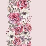 水彩桃红色玫瑰,与花的自然无缝的边界 库存例证