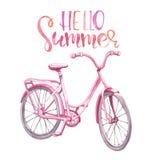 水彩桃红色葡萄酒自行车例证 手拉的海滩巡洋舰,隔绝在白色背景 夏天自行车乘驾 库存例证