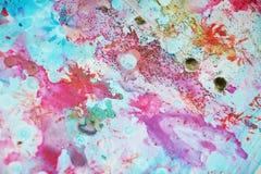 水彩桃红色软的五颜六色的闪耀的斑点、抽象背景和纹理 库存照片