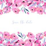 水彩桃红色鸦片和花卉分支拟订模板,手拉在白色背景 库存照片