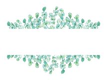 水彩框架花卉与玉树分支 库存例证