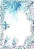 水彩框架边界 与绿色的纹理,分支,叶子,热带叶子,叶子 为婚姻,邀请完善 库存例证