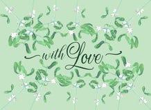 水彩槲寄生与爱愿望的植物卡片 免版税图库摄影