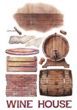 水彩汇集酿酒厂木材料 库存照片