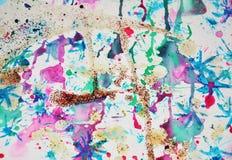 水彩油漆五颜六色的形状和闪耀的光,抽象背景 库存图片