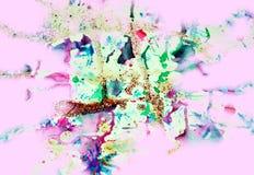 水彩油漆桃红色五颜六色的形状和闪耀的光,抽象背景 库存图片