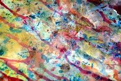 水彩油漆淡色颜色,绘蓝色橙色桃红色抽象创造性的背景 免版税库存照片