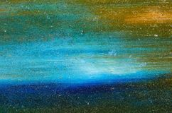 水彩油漆蓝色和绿色污迹  免版税库存图片