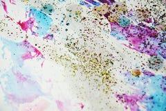 水彩油漆软绵绵地蜡状的五颜六色的形状和闪耀的光,抽象背景 库存照片