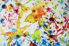 水彩油漆迷离蜡状的五颜六色的形状和闪耀的光,抽象背景 库存照片