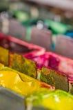 水彩油漆配件箱的宏指令 库存照片
