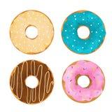 水彩油炸圈饼传染媒介集合 免版税图库摄影