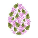 水彩淡紫色桃红色花和瓣和紫丁香属植物复活节彩蛋设计绿色叶子  对复活节纺织品装饰 库存例证