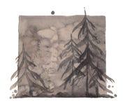 水彩灰色压抑冬天森林,被隔绝的深刻的灰色森林例证 向量例证