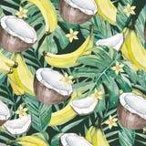 水彩热带叶子和夏天果子 无缝的样式夏天植物的果子香蕉,香蕉、椰子和阳桃切片 库存照片