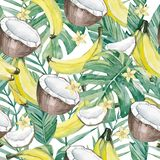水彩热带叶子和夏天果子 无缝的样式夏天植物的果子香蕉,香蕉、椰子和阳桃切片 库存图片