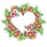 水彩热带叶子和花花圈! 水彩异乎寻常的花卉卡片 与棕榈树的手画热带框架离开和t 免版税库存照片