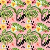 水彩热带叶子无缝的样式 手画棕榈叶、异乎寻常的羽毛花和绿色叶子在明亮的桃红色 皇族释放例证