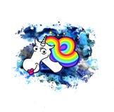 水彩独角兽 不可思议的甜点哄骗T恤杉的图表 生日和婴孩印刷品 与彩虹鬃毛的白色独角兽 向量例证