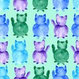 水彩猫无缝的样式 手在背景的色的剪影 库存例证