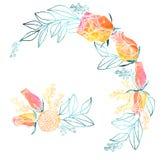 水彩玫瑰和含羞草框架和花束 免版税库存图片