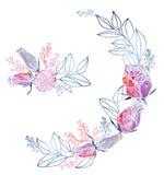 水彩玫瑰和含羞草框架和花束 免版税图库摄影