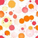 水彩玫瑰色和橙色无缝的模式 库存图片