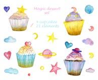 水彩甜集合不可思议的杯形蛋糕 免版税图库摄影