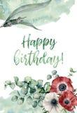 水彩生日快乐花卉卡片 与银莲花属的手画印刷品开花,被隔绝的不同的玉树叶子  库存照片